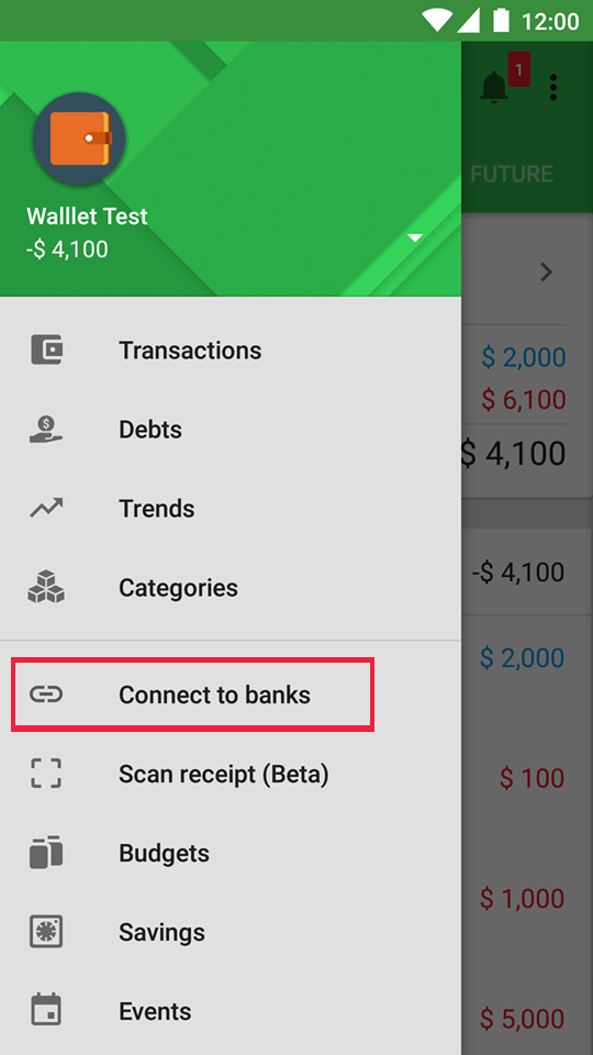 Connect to bank